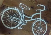 Hand painted bicycle on barn wood